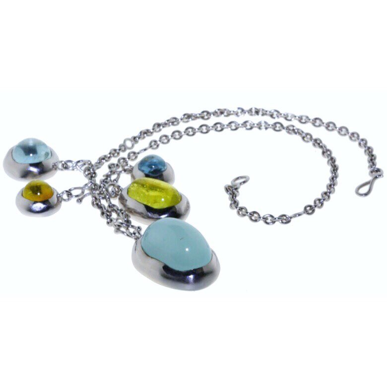 finejewelry collier whitegold gemstone fresh colorful bubbles pebbles ocean sea blue sun lemon yellow atelier munich handmadejewelry oneofakind instajewelry instadaily haveaniceday
