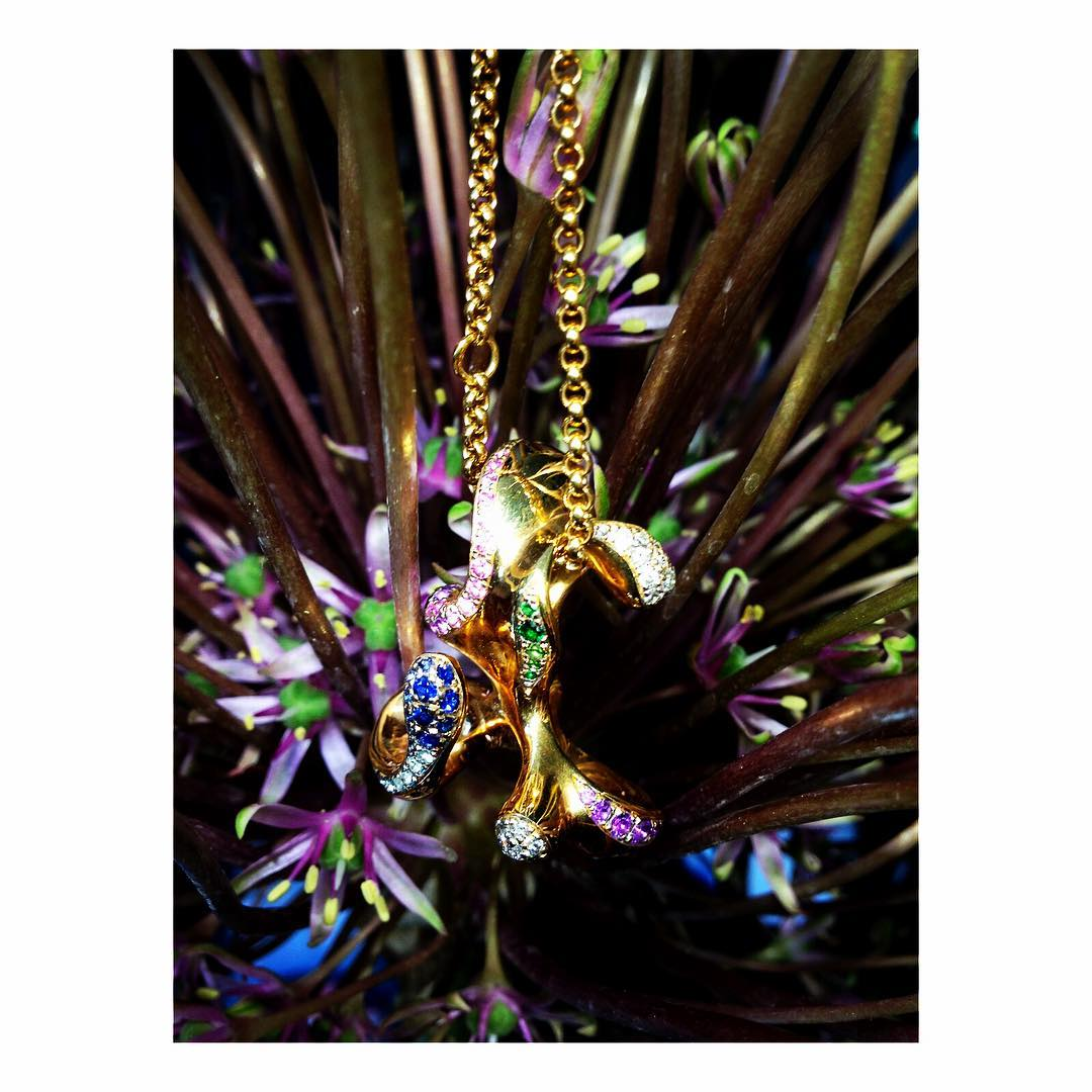 finejewelry pendant gold gemstone diamond colorful flowers blossom explosion power of beautiful nature growth bliss oneofakind atelier munich oneofakind handcrafted instajewelry instaflower instagood haveaniceday