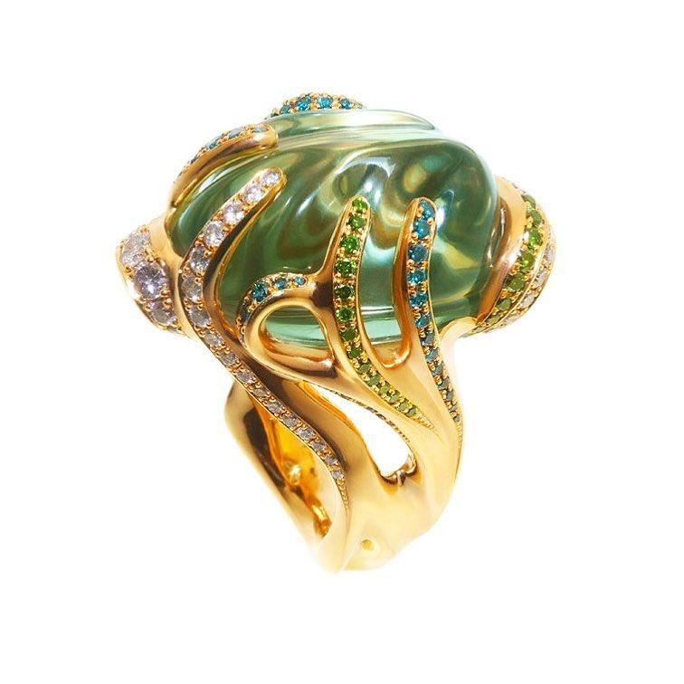 finejewelry ring gold gemstone colored diamond seaplant plant free form green atelier munich wearableart oneofakind handmade instajewelry jewellery instagood haveaniceday